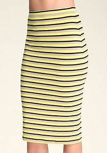 bebe Neon Stripe Midi Skirt