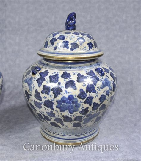 pair blue  white chinese porcelain lidded urns vases