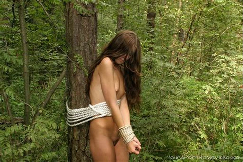 #Small #Titty #Brunette #Naked #And #Tied #Up #In #Woods