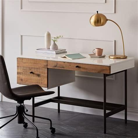 west elm desk reclaimed wood lacquer desk west elm