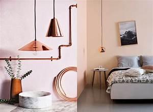 Deco Cuivre Rose : inspiration d co mur rose et cuivre rose poudr dans la ~ Zukunftsfamilie.com Idées de Décoration