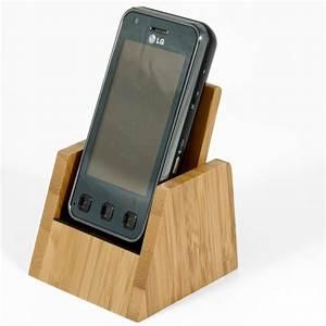 Support De Bureau Pour Tlphone Portable Bambou Naturel