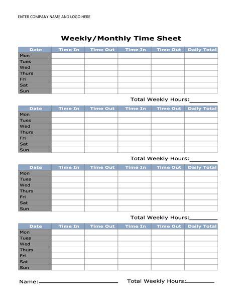 Weekly Timesheet Template Printable Weekly Timesheet Template Uma Printable