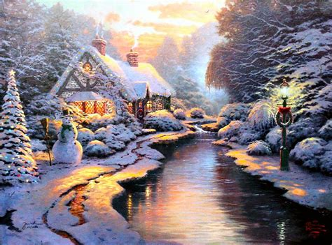 1950s Fireplaces by Christmas Evening Thomas Kinkade Wikiart Org