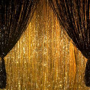 Metallic Foil Fringe Curtains by Metallic Curtain 3 X12 Black Each Party Supplies