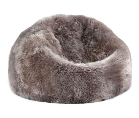 sheepskin bean bag chair large taupe 3 filled ultimate