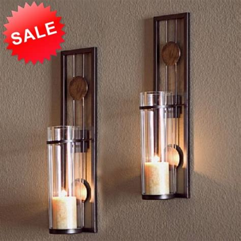 candle wall sconce holder metal set 2 glass pair decor