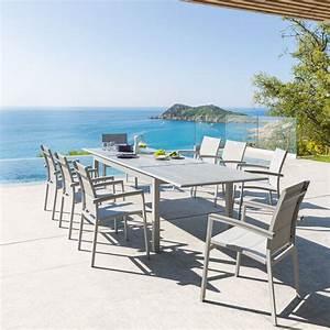 Table De Jardin Extensible 12 Places : table de jardin extensible azua gris silver mat ~ Edinachiropracticcenter.com Idées de Décoration