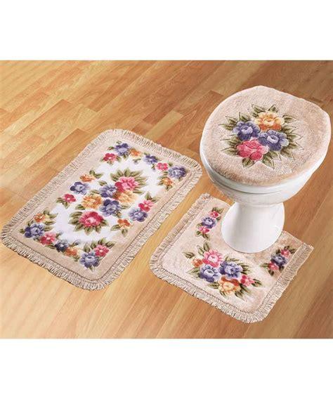 bath mat sets bathroom mat set set of 3 pedistal bath mat and toilet cover ebay