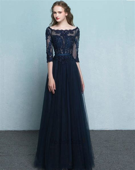 full length  long sleeves navy blue tulle  lace prom