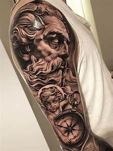 Black and Gray Zeus Sleeve Tattoo | Skin - Only the best ...