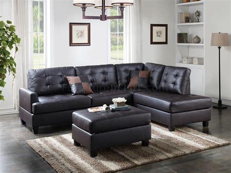 leather sofa and ottoman set f6855 sectional sofa and ottoman set in espresso faux leather