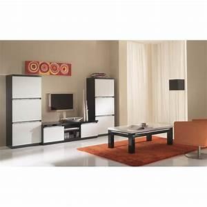 Meuble Tv Noir Laqué : meuble tv design laqu noir et blanc isabella matelpro ~ Nature-et-papiers.com Idées de Décoration