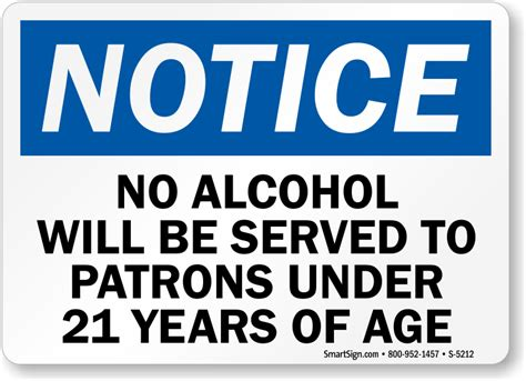 Bar Signs No Alcohol Will Be Served To Patrons Under 21