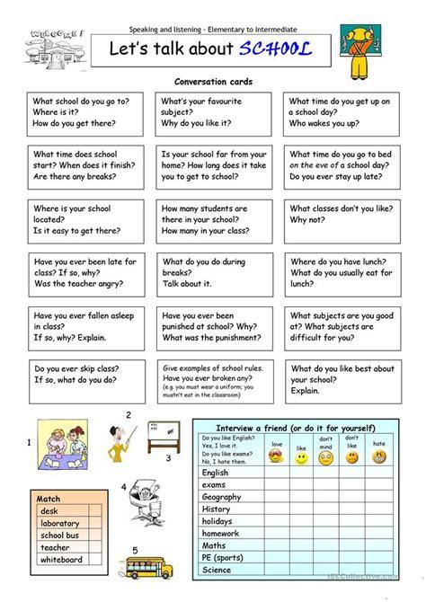 lets talk  school worksheet  esl printable