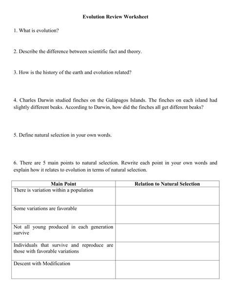 evolution review worksheet livinghealthybulletin