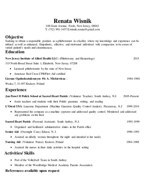 Phlebotomy Technician Sle Resume by 28 Phlebotomy Description For Resume Resume Exle 2016 Phlebotomy Resume Exles Phlebotomist