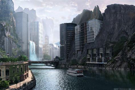 Città futuristica. Sfondi Ampi città e paesi. Edifici, l