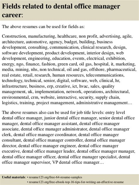 Dental Office Manager Sle Resume by Top 8 Dental Office Manager Resume Sles