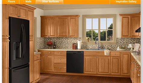 color schemes  honey oak cabinets       home depot kitchen visualizer
