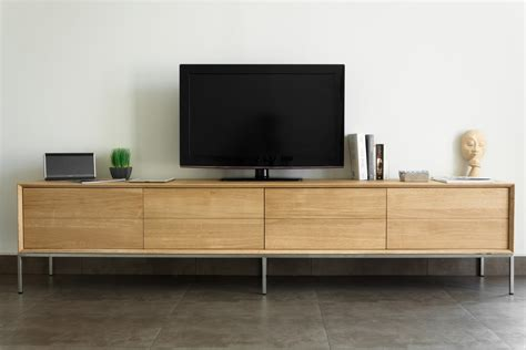 canapé moderne design meuble tv en chêne massif 2 tiroirs 2 portes rabattables