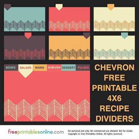 chevron  recipe divider cards  printables