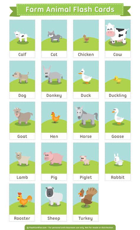 printable farm animals flash cards