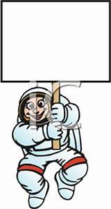 An Astronaut Holding Up a Blank White Sign - Clipart