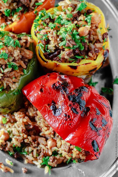 stuffed peppers with rice mediterranean style stuffed pepper recipe the mediterranean dish
