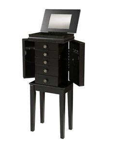 Black Standing Mirror Jewelry Armoire by Black Wood Jewelry Chest Armoire Free Standing Box Mirror
