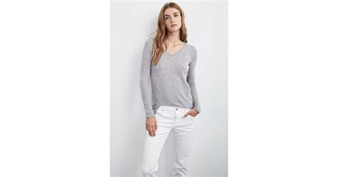 Velvet By Graham & Spencer Belicia Sheer Cashmere Sweater In Gray (heather Grey)