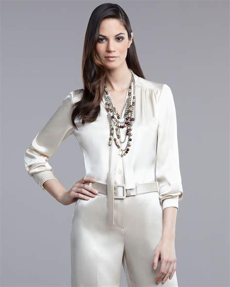 satin blouse st liquid satin blouse in white pearl lyst