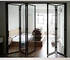黑色鋁鎂合金極窄邊框摺疊門拉門廚房陽臺客廳玻璃隔斷移門定製