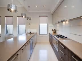 modern galley kitchen ideas modern galley kitchen design using polished concrete