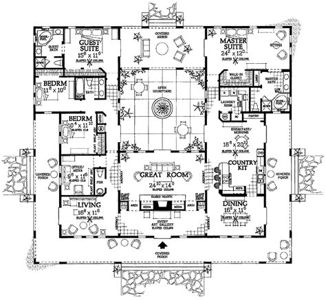 house plans with courtyards an interior courtyard plan floor plans