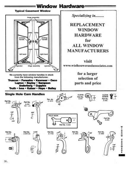 casement window diagram single hole cam handles wielhouwer replacement hardware specialists
