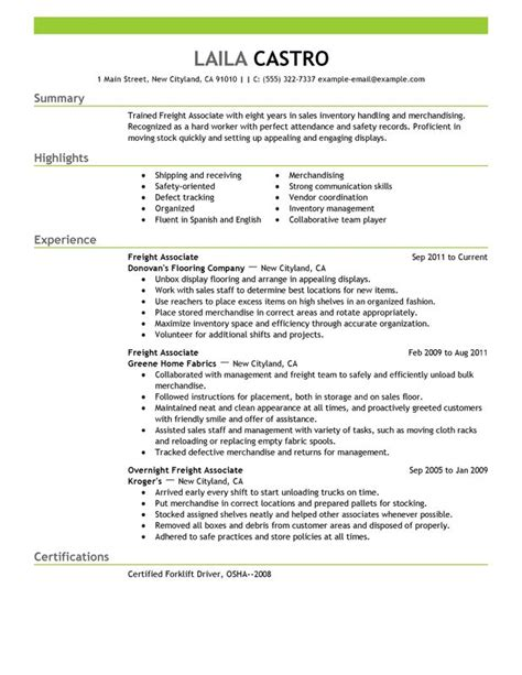 unforgettable freight associate resume exles to stand