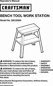 Craftsman 32022284 1301065l User Manual Bench Tool Work
