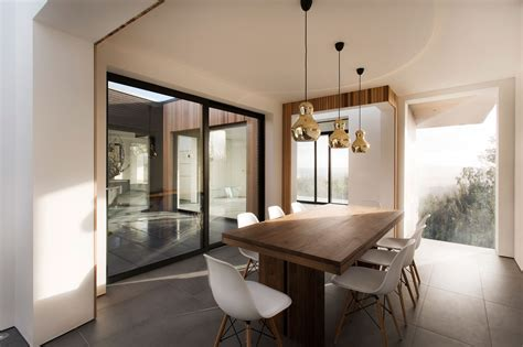 Dining Table, Patio Doors, Gold Pendant Lights, Modern