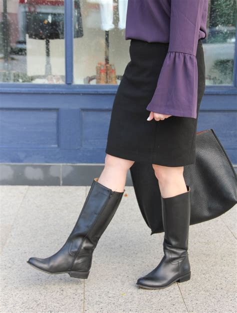 winter work outfit bell sleeves  boots lady