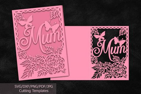 Download quit kitten around image. Mothers day card papercutting template svg dxf machine cut