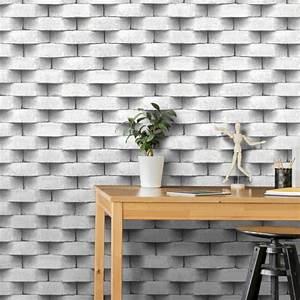 Papier Peint Trompe L Oeil 3d : papier peint trompe l il effet 3d briques blanc gris ugepa ~ Melissatoandfro.com Idées de Décoration
