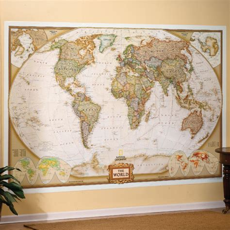 World Executive Wall Map, Mural - National Geographic Store