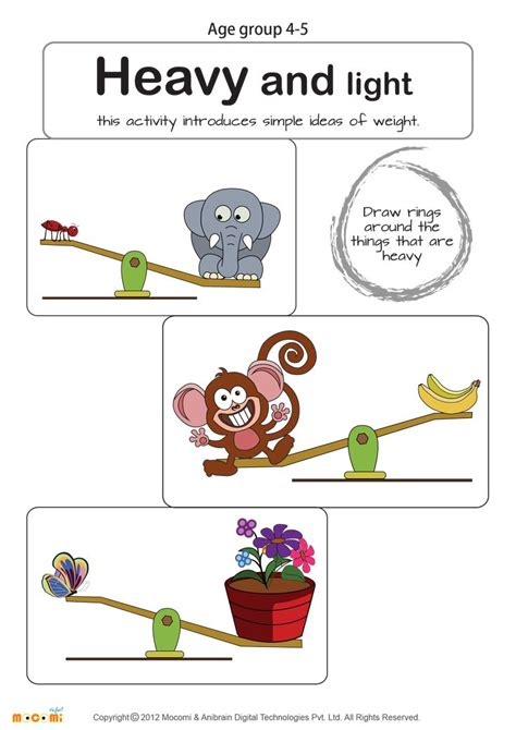 heavy and light math worksheet for kids for more