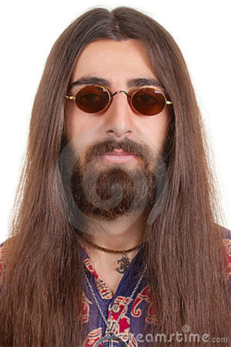 long haired hippie man stock photo image