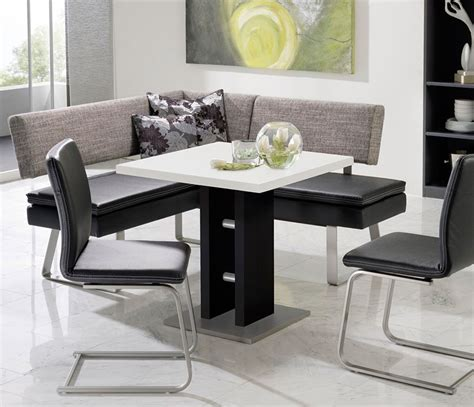 black and white table l modern black and white dining table and grey fabric bench