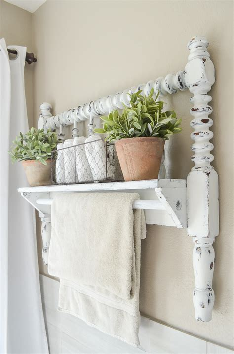 diy towel bar  vintage bed frame