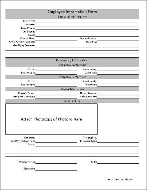 employment information sheet here is a preview of the quot basic employee information form