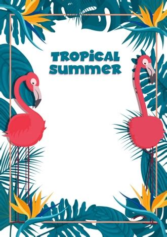 Tropical Poster Template by Tropical Summer Banner Template Flamingo Leaves Border