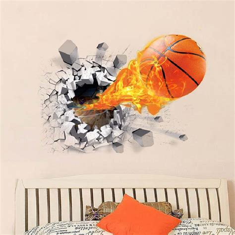 Club pack of 48 brown basketball themed team sports fanatic decorative cupcake pick party candles 3 $61.99. Sports Themed Wall Decals Decorative 3D Broken Wall Basketball Wall Stickers Mural Sticker Wall ...